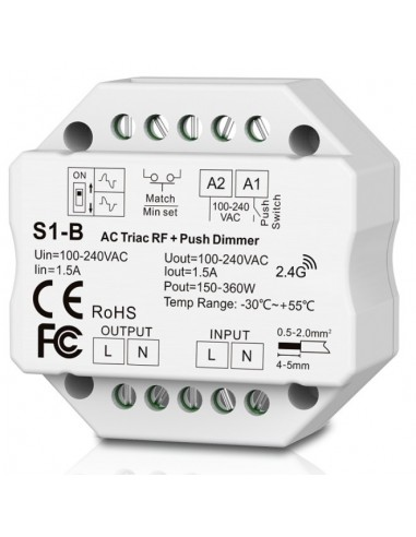 S1-B AC TRIAC RF + Push button Dimmer