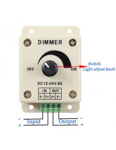 12-24V LED Strip Lights PWM Dimmer 8A...